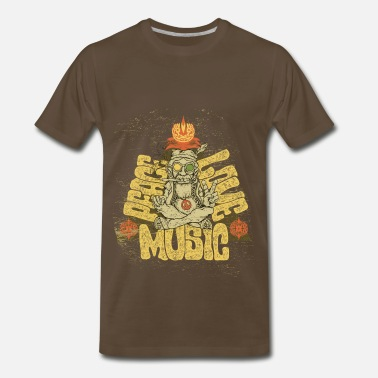 80s Country Music Peace, Love, Music - Men's Premium T-Shirt