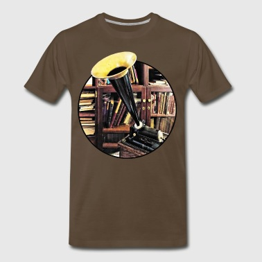 Vintage Phonograph In Library Circa 1880 - Men's Premium T-Shirt