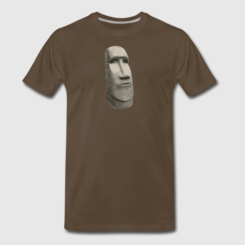 Brown Stone Easter Island Carved Moai Head - Men's Premium T-Shirt