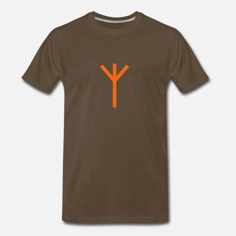 Algiz T-Shirts - Viking Algiz Rune - Men's Premium T-Shirt noble brown