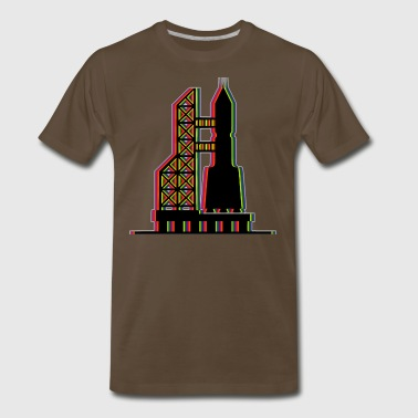 Rocketship on Launch Pad in Multi-Color - Men's Premium T-Shirt