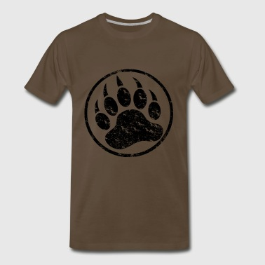 Cool Distressed Black Bear Paw - Men's Premium T-Shirt