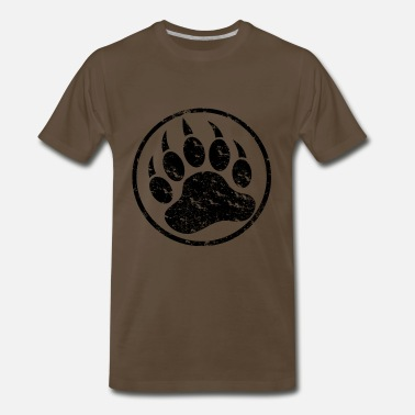 Bear Paw Cool Distressed Black Bear Paw - Men's Premium T-Shirt