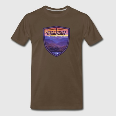 Great Smoky Mountains National Park Vintage Smokies Badge Design - Men's Premium T-Shirt