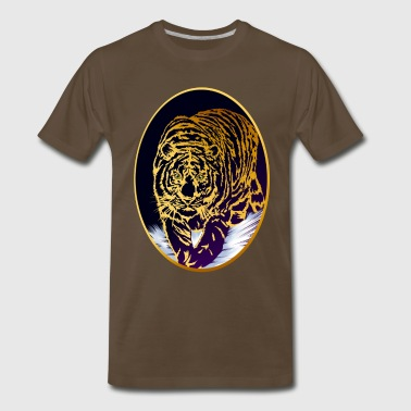 Snow Tiger Framed Golden Snow Tiger - Men's Premium T-Shirt