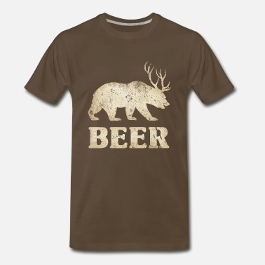 Beer Deer Bear Vintage Bear+Deer=Beer - Men's Premium T-Shirt