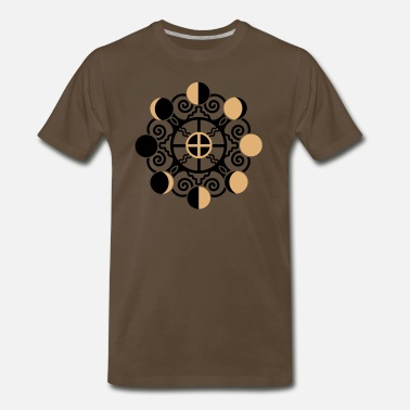 India Psychedelic Psy Moon Phases & Earth - Symbol change is stability - Men's Premium T-Shirt