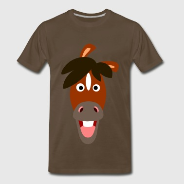 Smiling Cartoon Horse by Cheerful Madness!! - Men's Premium T-Shirt