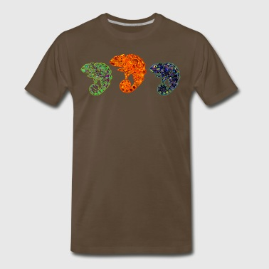 3 Cute Multi-Colored Chameleons - Men's Premium T-Shirt