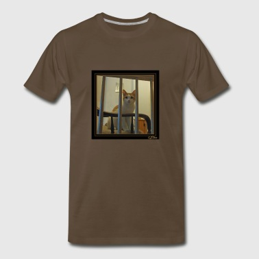 Cat Behind Bars with logo - Men's Premium T-Shirt
