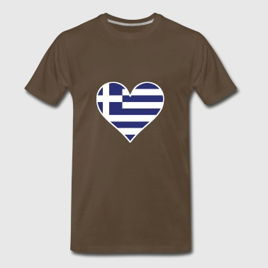 Greek Flag Heart - Men's Premium T-Shirt