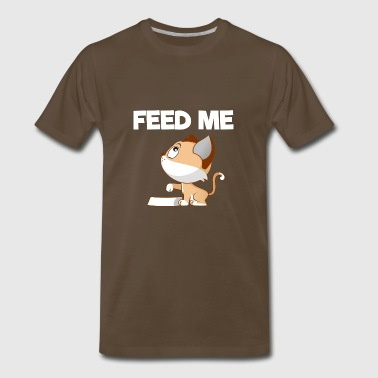 Cat Pointing Its Paw At The Food Dish - Men's Premium T-Shirt