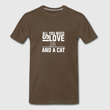 Love Wisconsin ALL YOU NEED IS LOVE AND A CAT - Men's Premium T-Shirt