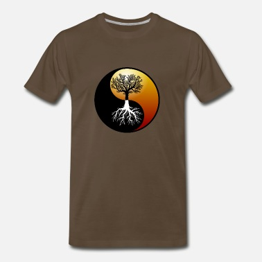 Tao Yin yang with trees - Men's Premium T-Shirt