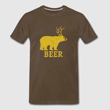 Beer Bear With Antlers Beer - Men's Premium T-Shirt