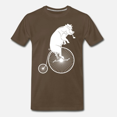 Hog Rider Pig with Hat & Pipe Riding a Bike White Silhouette - Men's Premium T-Shirt