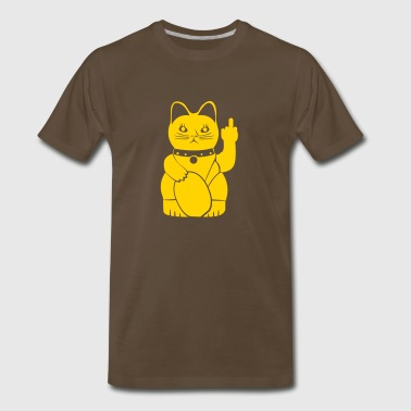 Winkekatze with middle finger - Men's Premium T-Shirt