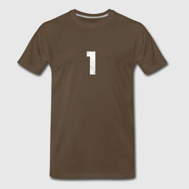 1, One, Number One, Number 1 distressed - Men's Premium T-Shirt