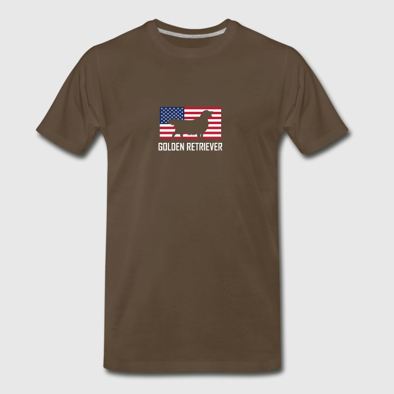 Golden Retriever American Flag - Men's Premium T-Shirt