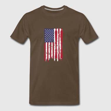 US flag with skis and ski poles as stripes - Men's Premium T-Shirt