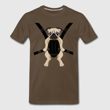 Funny Cute Baby PUG Carrier with Strap On - Men's Premium T-Shirt