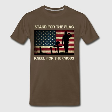 US Military Stand For The Flag Kneel For The Cross - Men's Premium T-Shirt