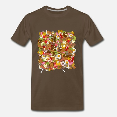 Fast Food Jokes fast food pattern - Men's Premium T-Shirt