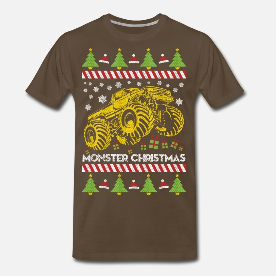 Ugly T-Shirts - Monster Truck Ugly Christmas - Men's Premium T-Shirt noble brown