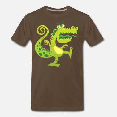 Unfriendly Scary reptile like monster growling in angry mood - Men's Premium T-Shirt