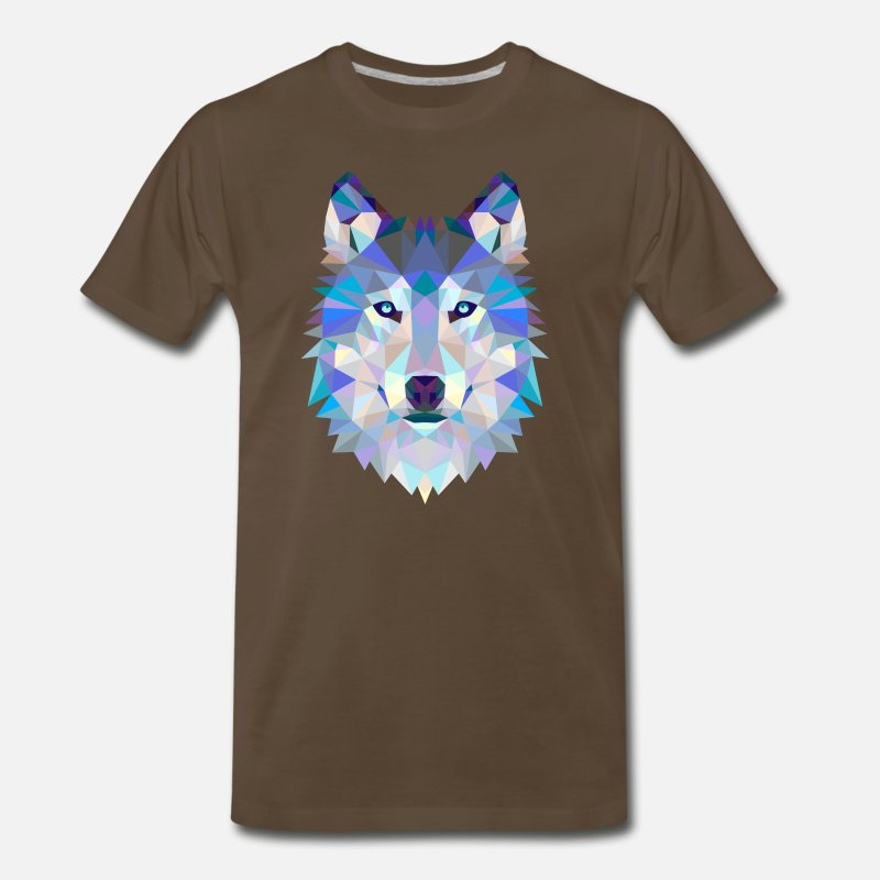 Wolfpack T-Shirts - Polygon Wolf Graphic T-Shirts And Sweaters - Men's Premium T-Shirt noble brown