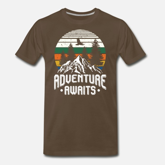 Adventure T-Shirts - Adventure awaits - camping scout hiking - Men's Premium T-Shirt noble brown