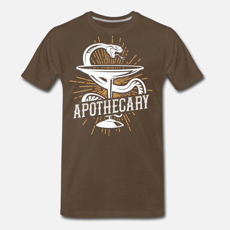 Snake T-Shirts - Apothecary Pharmacist and Chemist Design - Men's Premium T-Shirt noble brown
