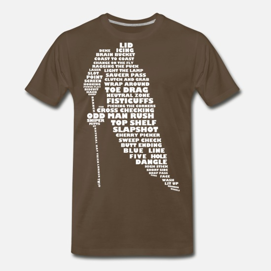 Hockey T-Shirts - Language of Hockey (white print) - Men's Premium T-Shirt noble brown
