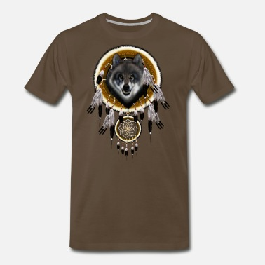 Indian Apache Grey Wolf Dream Catcher TSHIRT - Men's Premium T-Shirt