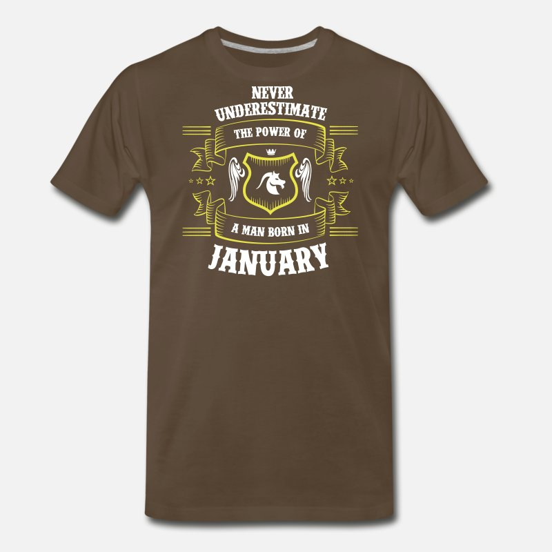 Capricorn T-Shirts - Born. January. Zodiac. Capricorn - Men's Premium T-Shirt noble brown