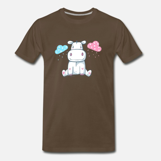 Cute Dog T-Shirts - Cute Teddy Behemoth Hippo Cartoon Characters - Men's Premium T-Shirt noble brown