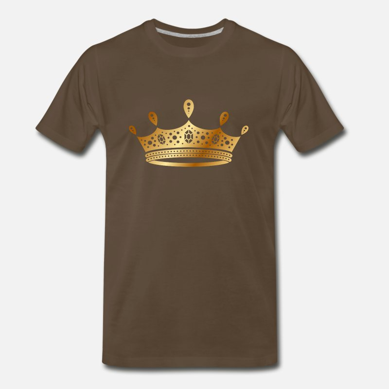 Rap T-Shirts - golden crown the king of rap drawing graphic arts - Men's Premium T-Shirt noble brown