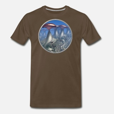 Magic Circle Metallic Space Mushrooms made with Fractals - Men's Premium T-Shirt