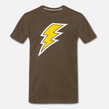 Electricity Bolt Yellow Lightening, cartoon lightening bolt, bolt - Men's Premium T-Shirt
