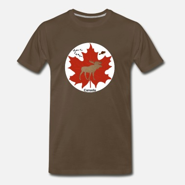 Beaver Canada Canadian Themed Moose, Maple Leaf, and Geese Logo - Men's Premium T-Shirt