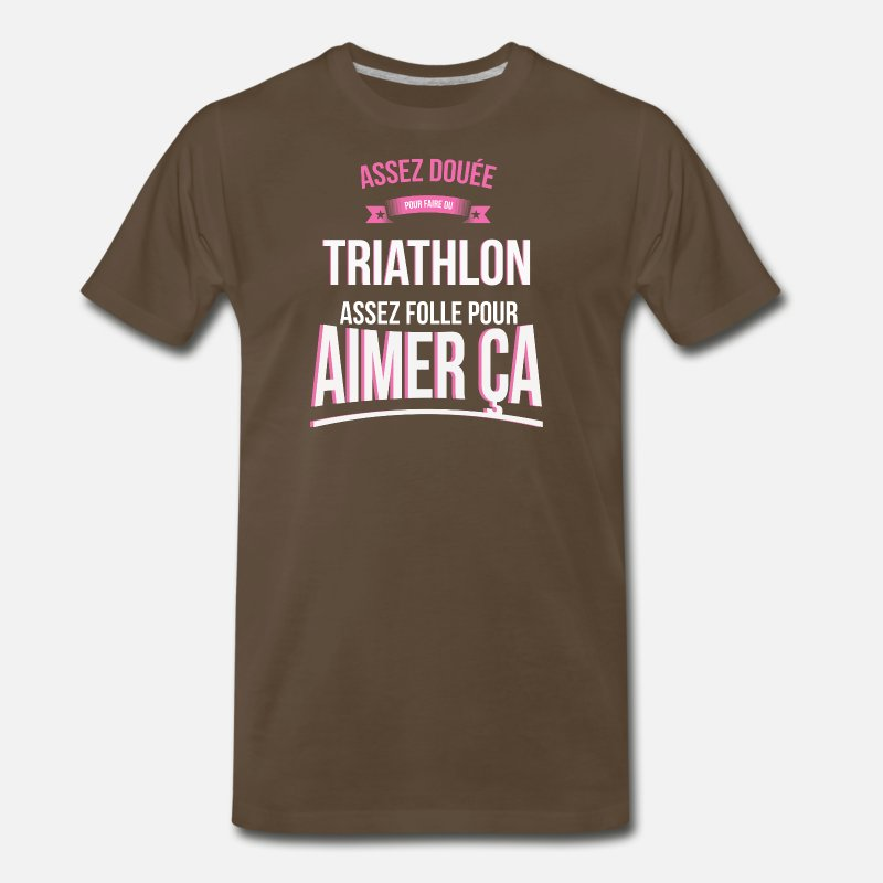Triathlon T-Shirts - Gifted Triathlon Crazy Woman Gift - Men's Premium T-Shirt noble brown