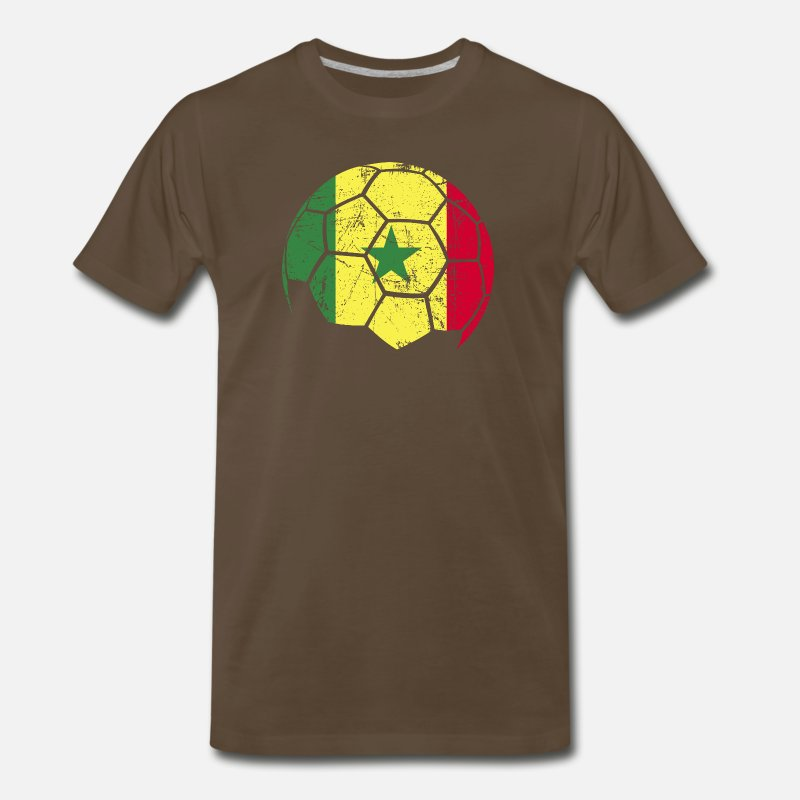 Gift Idea T-Shirts - Senegal Soccer Football Ball - Men's Premium T-Shirt noble brown