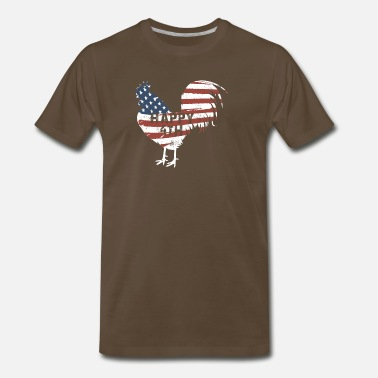 Cockfighter American Flag Happy 4th Chicken - Men's Premium T-Shirt