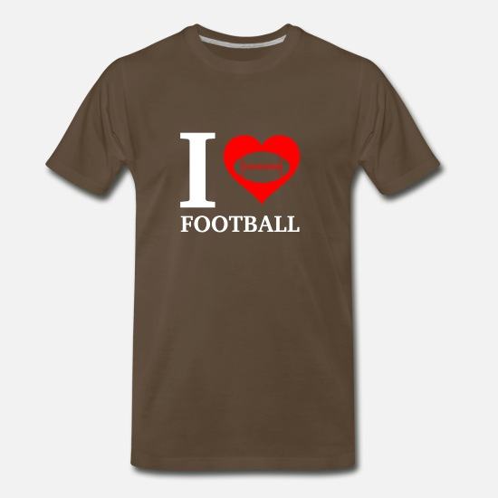 Heart T-Shirts - I Love Football - Men's Premium T-Shirt noble brown