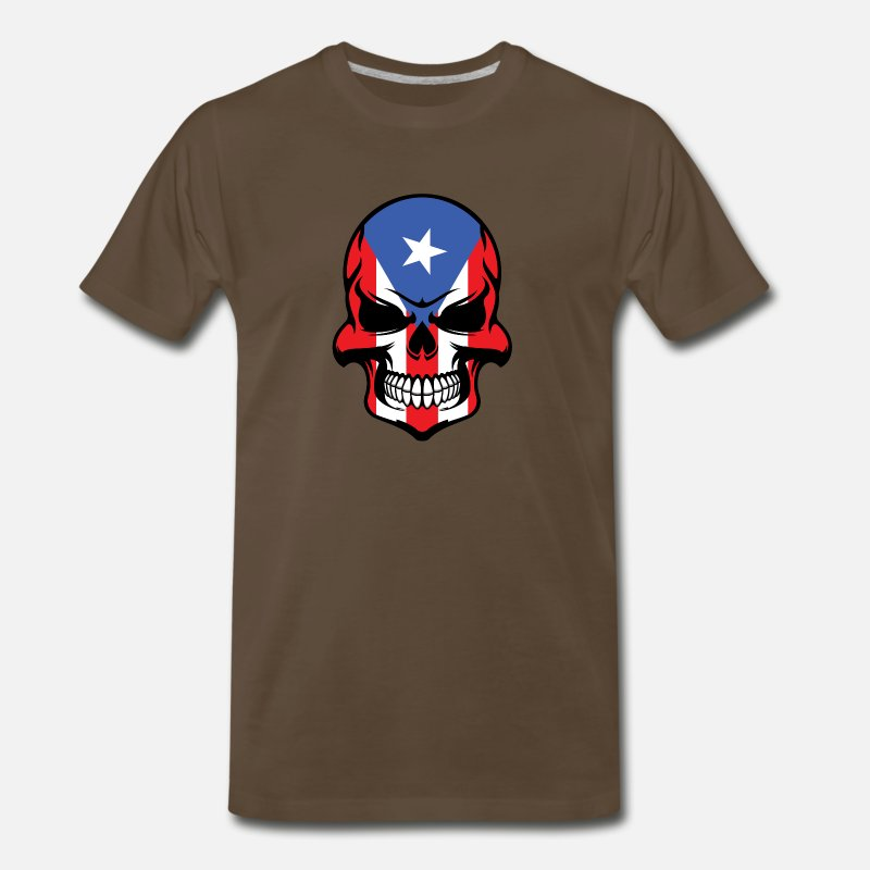 Country T-Shirts - Puerto Rican Flag Skull Cool Puerto Rico Skull - Men's Premium T-Shirt noble brown