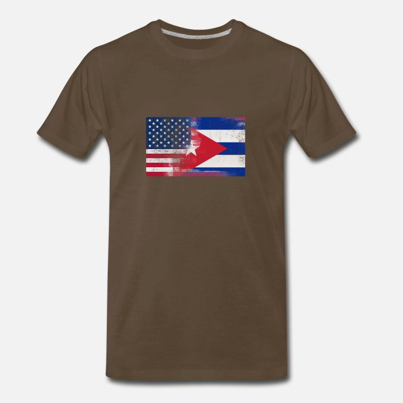 Cuba T-Shirts - Cuban American Half Cuba Half America Flag - Men's Premium T-Shirt noble brown