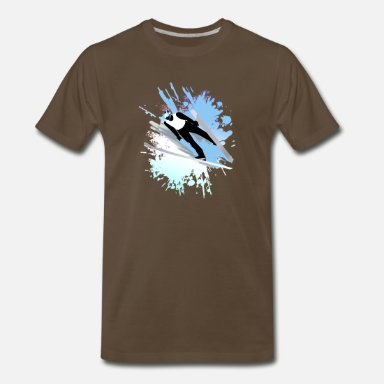 Country T-Shirts - Skiing - Men's Premium T-Shirt noble brown