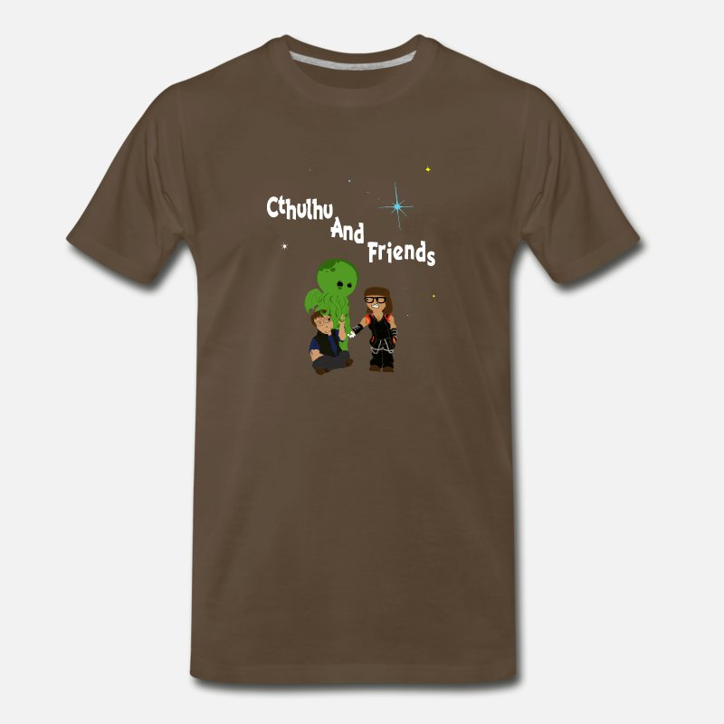 Cosmic T-Shirts - Cthulhu AND friends! - Men's Premium T-Shirt noble brown