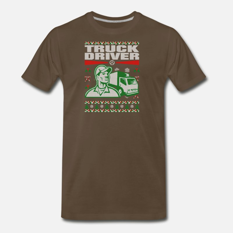 Truck T-Shirts - Truck Driver Ugly Christmas Sweater - Men's Premium T-Shirt noble brown