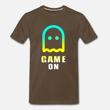 Gamepad Game ON ghost play gamer nerd level - Men's Premium T-Shirt